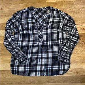 Talbots Plaid Black and White Cotton Top